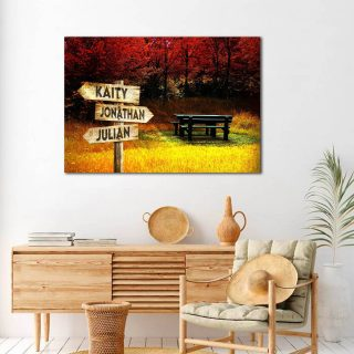 Personalized Autumn Multi-Names Premium 0.75 & 1,5 Framed Canvas - Street Signs Customized With Names- Home Living- Wall Decor