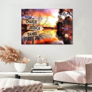 Personalized Sunset In The River Multi-Names Premium 0.75 & 1,5 Framed Canvas - Street Signs Customized With Names- Home Living- Wall Decor