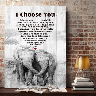 The Elephant – I Choose You To Do Life With Hand In Hand, Side By Side 0.75 and 1,5 Framed Canvas- Home Decor-Canvas Wall Art
