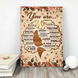Butterfly And Flower – You Are Loved, Beautiful, Special, Cared For, Protecte 0.75 and 1,5 Framed Canvas- Home Decor-Canvas Wall Art