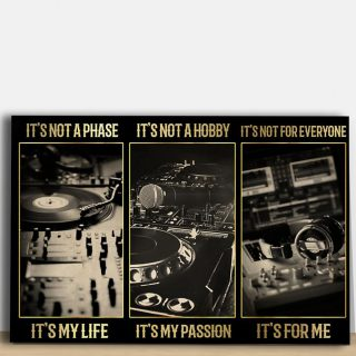 Music Studio Canvas,  Turntable Vinyl Record Player Passion Vintage Canvas, 0.75 & 1.5 In Framed