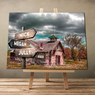 Home Barn Landscape Art  Multi-names Premium Canvas - Street Signs Customized With Names- 0.75 & 1.5 In Framed -wall Decor, Canvas Wall Art