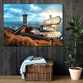 Lighthouse Sunshine Landscape  Art Custom Canvas,  0.75 & 1.5 In Framed Canvas -street Signs Customized With Names - Wall Decor,canvas Wall