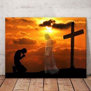 Bowing Man Before Jesus Compressor Art Canvas, Jesus Christ Canvas, 1.5 & 0.75 In Framed