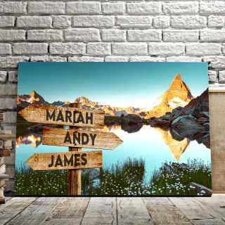 Personalized Mountain River Multi-Names Premium 0.75 & 1,5 Framed Canvas - Street Signs Customized With Names- Home Living- Wall Decor