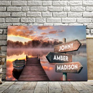 Personalized Boat Bridge Multi-Names Premium 0.75 & 1,5 Framed Canvas - Street Signs Customized With Names- Home Living- Wall Decor