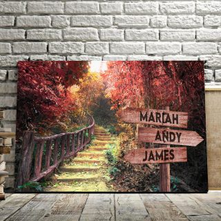 Personalized Autumn Forest Multi-Names Premium 0.75 & 1,5 Framed Canvas - Street Signs Customized With Names- Home Living- Wall Decor