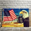 Personalized Dogtags Eagle American Flag Canvas, Veterans Canvas, Gift For Soldiers,  Canvas Wall Art