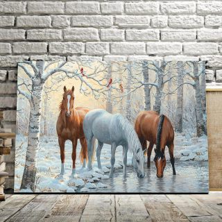 Wild Winter Trio Horses Besides The Lake Art Canvas,  Horse Canvas, Horse Lovers, Wall Art Decor