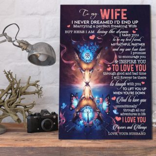 To My Wife I Never Dreamed I'd End Up Marrying a Perfect Wife 0.75 &1,5 Framed Canvas - Anniversary Gifts- Home Decor, Wall Art
