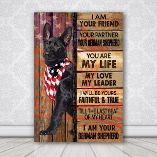 Black German Shepherd I Am Your Friend USA Flag - Dog Canvas - Memorial Dog - Canvas Wall Art - Canvas Wall Art - Best Gift for Dog Lovers