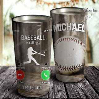 Personalized Funny Baseball Is Calling I Must Go Tumbler- Family Gifts- Baseball  Lover Gifts- Travel Mug