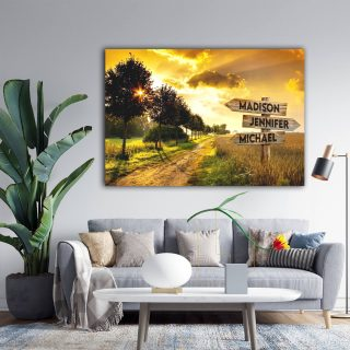 Personalized Dawn On The Field Multi-Names Premium 0.75 & 1,5 Framed Canvas - Street Signs Customized With Names- Home Living- Wall Decor