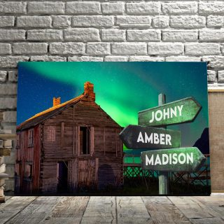 Personalized River House Multi-Names Premium 0.75 & 1,5 Framed Canvas - Street Signs Customized With Names- Home Living- Wall Decor