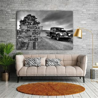 Personalized Car And Field Multi-Names Premium 0.75 & 1,5 Framed Canvas - Street Signs Customized With Names- Home Living- Wall Decor