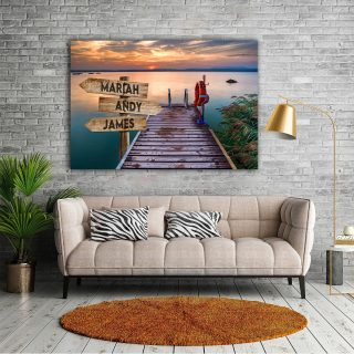 Personalized River Bridge Multi-Names Premium 0.75 & 1,5 Framed Canvas - Street Signs Customized With Names- Home Living- Wall Decor