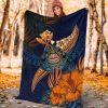 Sea Turtle Mandala Floral Fleece Blanket, Turtle Lover Blanket, Floral Art Blanket, Gift For Her, Family Gift, Home & Living
