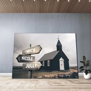 Personalized Iceland House Multi-Names Premium 0.75 & 1,5 Framed Canvas - Street Signs Customized With Names- Home Living- Wall Decor