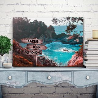 Personalized Mountain Sea Multi-Names Premium 0.75 & 1,5 Framed Canvas - Street Signs Customized With Names- Home Living- Wall Decor