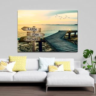 Personalized Lake View Landscape Art Multi-names Canvas, Family Canvas, Street Signs Customized With Names- 0.75 & 1.5 In Framed -wall Deco