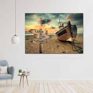 Personalized Wooden Boat Beach Landscape Art Multi-names Canvas, Family Canvas, Street Signs Customized With Names- 0.75 & 1.5 In Framed -w