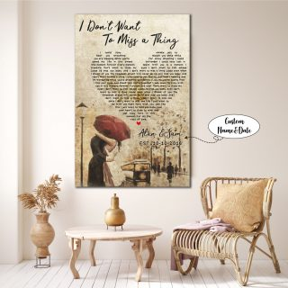 Personalized Couple Names-  I Don't Want To Miss A Thing Song Lyrics 0.75 & 1.5 In Framed Canvas- Anniversary Gifts- Canvas Wall Art