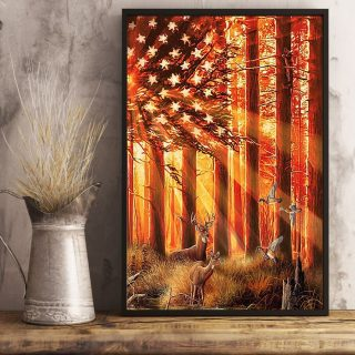 Hunting Deer And Duck In The Sun Flag Canvas, Hunting Canvas, Gift For Papa, Dad, Wall Art