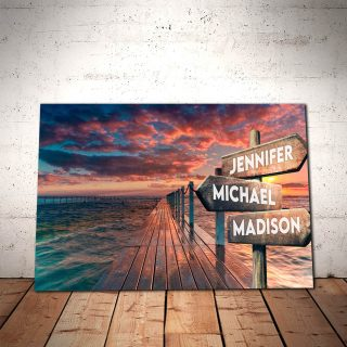 Personalized Beautiful Sky and Beach Multi-Names 0.75 & 1,5 Framed Canvas - Street Signs Customized With Names- Home Living- Wall Decor