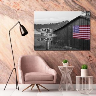 Personalized Black And White Old American Barn With Flag Canvas, Family Custom Street Signs Customized With Names- 0.75 & 1.5 In Framed