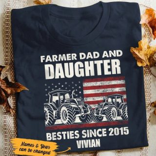 Personalized Farmer Dad And Daughter, Son Bestie American Flag Vintage Shirt, Dad And Daughter, Dad And Son, Farm House Shirt, Farmers, Tru
