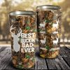 Personalized Deer Best Buckin' Dad Ever Tumbler, Hunting Camouflage Tumbler, Gift For Dad, Family Gift, Travel Mug