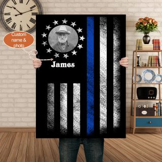 Personalized Police Line Thin Blue American Flag Canvas, Policeman Memory Canvas, Police Office Canvas, Blue American Flag Canvas, Family C