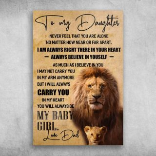Papa And Baby Lion To My Daughter I Will Carry You In My Heart Love Dad Canvas 0.75 & 1.5 In Framed Canvas - Home Decor- Canvas Wall Art