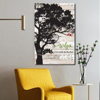 Custom Engagement Canvas , Last Name Establish, Wedding Gift Love Birds Tree, Anniversary Gift For Couples, Wall Art