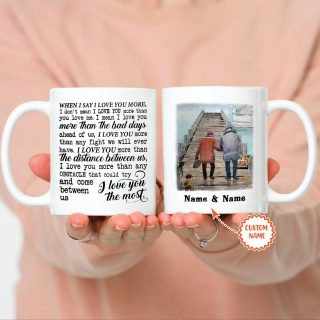 Personalized Fishing I Love You The Most Mug- Customize Your Name And Date- Anniversary& Wedding Gifts