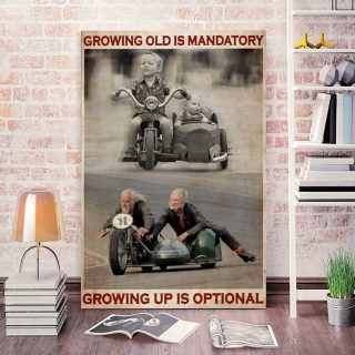 Growing Old Is Mandatory Growing Up Is Optional 0.75 & 1,5 Framed Canvas- Canvas Wall Art -Home Decor