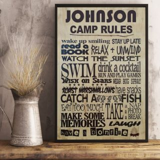 Personalized Family Camp Rules Vintage Canvas, Camping Canvas, Family Gift
