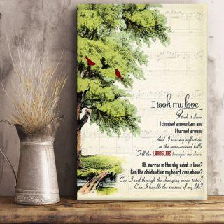 I Took My Love I Took It Down Tree Of Life Birds Canvas, Lyrics Song Inspirational Art Decor, Love Song Canvas, Best Gift Idea, Wall Art