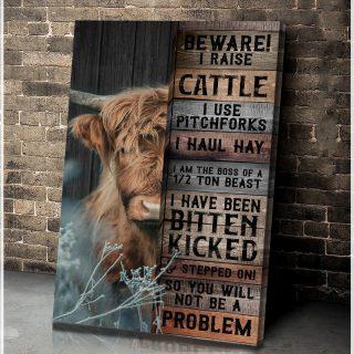Farm - Highland Cow - Beware! I Raise Cattle - Canvas, Highland Cattle Canvas, Wall Art
