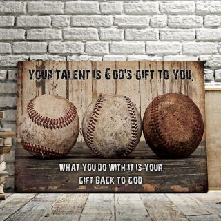 Baseball Your Talent Is God's Gift To You 0.75 & 1.5 In Framed -Home Decor- Wall Decor, Canvas Wall Art