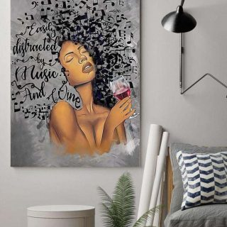 African American Art Lose Your Mind Find Your Soul Canvas , Afro Music Lady Print Decor, Wine Art, Home Decor