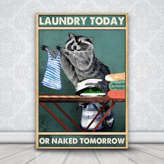 Racoon Laundry Today Or Naked Tomorrow 0.75 & 1,5 Framed Canvas - Racoon Lover Gifts -Home Decor- Wall Art