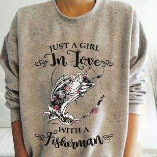 Just A Girl In Love With A Fisherman Shirt, Couple Love Shirt, Fishing Couple, Fisherman's Wife Shirt, Fisherman's Girlfriend Shirt, Best G