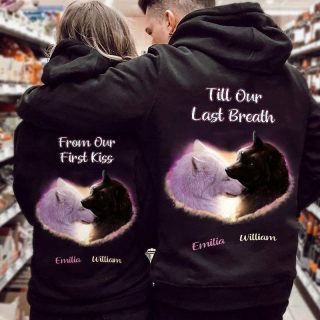 Personalized Wolf Couple From Our First Kiss, Till Our  Last Breath Shirt, Couple Shirt, Valentine's Day Gift