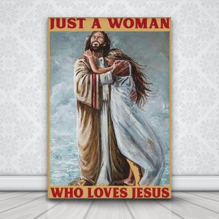 Just A Woman Who Loves Jesus 0.75 & 1,5 Framed Canvas - Gift Idea- Housewarming Gifts- Home Decor - Wall Art