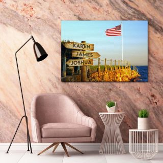 Personalized Beautiful American Flag Blowing In The Wind At The Beach On A Pier Canvas, Multi-names Premium Canvas - Street Signs Customize