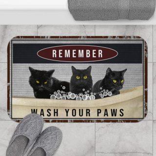 Black Cat Wash Your Paws Bath Mat, Funny Black Cats Bath Mat, Bathroom Decor, Home & Living