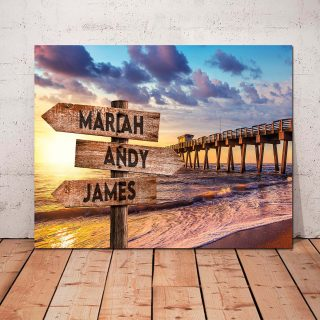 Personalized At The Beach Family Gift With Names, Ocean Background, Custom Valentines, Family Sign Home Decor, Couple Gift
