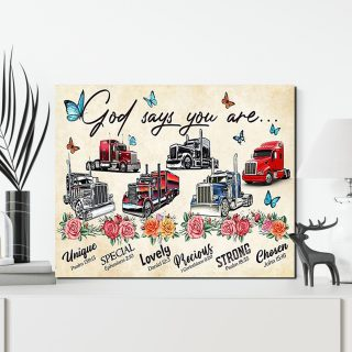 Trucker God Says You Are Unique 0.75 and 1,5 Framed Canvas - Family Print, Home Wall Decor