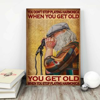 Old Man Playing Harmonica – You Don't Stop Playing Harmonica When You Get Old 0.75 and 1,5 Framed Canvas- Home Decor-Canvas Wall Art